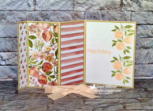 Stampin Up, Stampin' Up!. Sweet As A Peach, Triple Accordion Fold, New At SU Blog Hop, birthday card, created by Stampin Scrapper.  For more cards, gifts, ideas, scrapbooking and 3D projects go to stampinscapper.com, Joyce Whitman