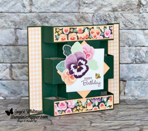 Stampin Up, Stampin' Up!. Pansy Petals suite, Pansy Patch stamp set, Pansy dies, Pansy Petals designer series paper, Bumblebee Trinkets, Stitched Shapes dies, Happy Birthday card, handmade card, for more cards, gifts, ideas, scrapbooking and 3D projects go to stampinscrapper.com, Joyce Whitman