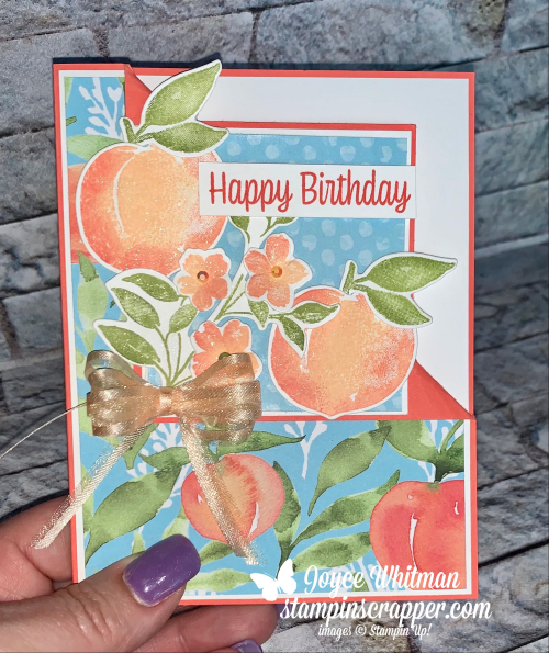Stampin Up, Stampin' Up!, Corner Fold Gift Card Holder, Facebook Live, You're A Peach suite, Sweet As A Peach stamp set, Peach dies, You're A Peach designer series paper, Birthday Card, gift card holder, created by Stampin Scrapper.  For more cards, gifts, ideas, scrapbooking and 3D projects, go to stampinscrapper.com.