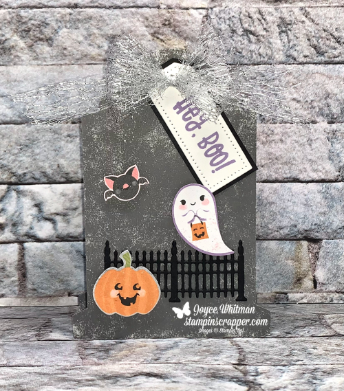 Stampin Up, Stampin' Up!, Fall Friday 2021, Cutest Halloween stamp set, Halloween punch, Tombstone boxes, holiday catalog, Cute Halloween designer series paper, Frightful Tags dies, Metallic Mesh ribbon.  Created by Stampin Scrapper.  For more cards, gifts, ideas, scrapbooking and 3D projects go to stampinscrapper.com, Joyce Whitman