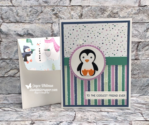 Stampin Up, Stampin' Up!, Penguin Place stamp set, Penguin Playmates designer series paper, Sale-A-Bration, Birthday, Christmas, Thank you, created by Stampin Scrapper. For more cards, gifts, ideas or scrapbooking go to stampinscrapper.com, Joyce Whitman