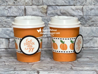 Stampin Up, Stampin' Up!, Fall Friday 2020,  Banner Year stamp set, Warm Hugs stamp set, Mini Coffee Cups, Mini Coffee Carrier, Warm Wraps dies, Layering Circle Dies, created by Stampin Scrapper.  For more cards, gifts, ideas, scrapbooking and 3D projects go to stampinscrapper.com.