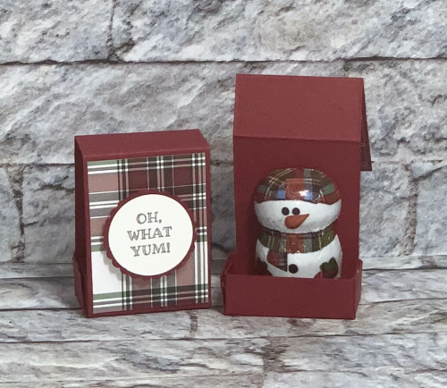 Stampin Up, Stampin' Up!, Snowman Season, Acetate Boxes, New At SU Blog Hop, Plaid Tidings designer series paper, Treat Holder, created by Stampin Scrapper.  For more cards, gifts, ideas, scrapbooking and 3D projects, go to stampinscrapper.com, Joyce Whitman