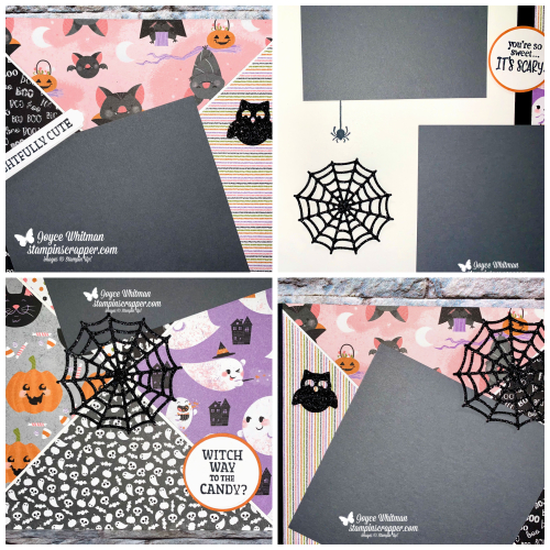 Stampin Up, Stampin' Up!, Frightfully Cute stamp set, Frightful Tags dies, Frightfully Cute bundle, scrapbook page, Halloween, Autumn, Cute Halloween designer series paper, created by Stampin Scrapper.  For more card, gifts, ideas, scrapbooking and 3D projects go to stampinscrapper.com, Joyce Whitman