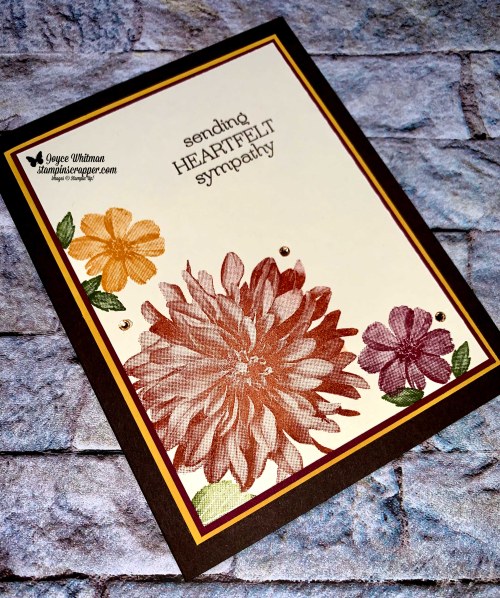 Stampin Up, Stampin' Up!, Fall Friday 2021 Week #3, Delicate Dahlias stamp set, sympathy, fall, simple stamping, created by Stampin Scrapper. For more cards, gifts, ideas, scrapbooking and 3D projects go to stampinscrapper.com, Joyce Whitman