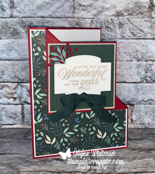 Stampin Up, Stampin' Up!. New At SU Blog Hop, Tidings of Christmas Suite, Christmas Card, Christmas Gift Card Holder, Gift Card Holder, Tidings & Trimmings stamp set, Christmas Tidings dies, Stitched So Sweetly dies, Tidings of Christmas designer series paper, handmade card, created by Stampin Scrapper.  For more cards, gifts, ideas, scrapbooking and 3D projects go to stampinscrapper.com, Joyce Whitman