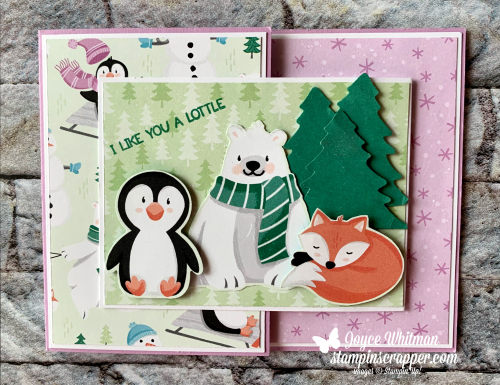 Stampin Up, Stampin' Up!, New At SU Blog Hop, August 2021, Penguin Place Stamp Set, Penguin Playmates designer series paper, Penguin Builder and Pine Tree punches, Creative Fold, Christmas Card, Christmas, created by Stampin Scrapper.  For more cards, gifts, ideas, scrapbooking and 3D projects go to stampinscrapper.com, Joyce Whitman.