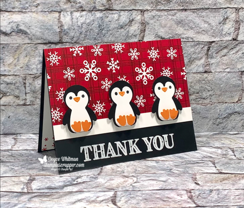 Stampin Up, Stampin' Up!, Penguin Place stamp set, Ornate Thanks stamp set, embossing, Peaceful Prints designer series paper, Sale-A-Bration, Penguin Builder punch, thank you card, 2021 Holiday catalog, created by Stampin Scrapper. For more cards, gifts, ideas, scrapbooking and 3D projects go to stampinscrapper.com, Joyce Whitman