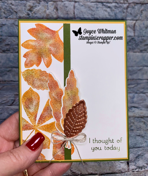 Stampin Up, Stampin' Up!, Fall Friday, Fall Friday 2021 Week #5, Love of Leaves stamp set, Stitched Leaves dies, thumbing technique, fall, friendship, created by Stampin Scrapper. For more cards, gifts, ideas, scrapbooking and 3D projects go to stampinscrapper.com, Joyce Whitman
