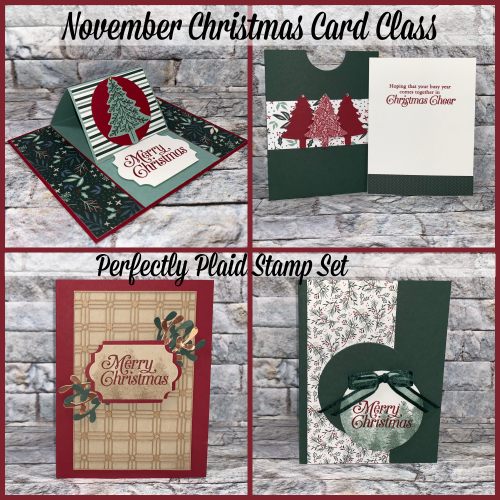Stampin Up, Stampin' Up!, Perfectly Plaid stamp set, Pine Tree punch, Christmas cards, Christmas, Christmas card class, created by Stampin Scrapper. For more cards, gifts, ideas, scrapbooking and 3D projects go to stampinscrapper.com, Joyce Whitman