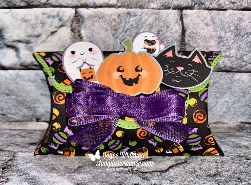 Stampin Up, Stampin' Up!, Fall Friday Week #6, Fall Friday, Cute Halloween designer series paper, Pretty Pillow Box dies, Halloween punch, treat holder, created by Stampin Scrapper. For more cards, gifts, ideas, scrapbooking and 3D projects go to Stampinscrapper.com, Joyce Whitman